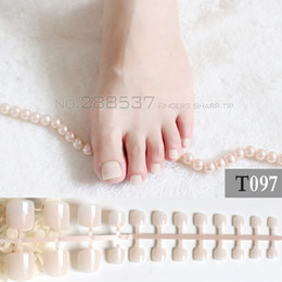 french nails toes Australia - 2017 French show cute candy fake toenails light pink toes simple short Nude color T097