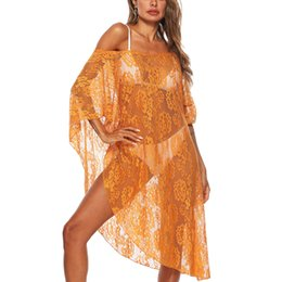 see swimsuits UK - Bikini Cover up Womens Summer Sexy See-Through Sun Protective Beach Dress Bikini Cover Up with Tassel Swimsuit Coat