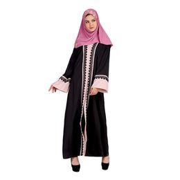 a629a60eb Muçulmano Vestido de Manga Comprida Longo Contraste Costura Vento Chiffon  Vestido kaftan café hijab tesettur elbise robe musulmane