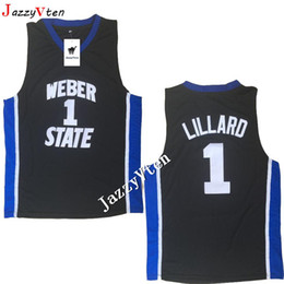 weber jersey NZ - 2019 New arrived Men's Lillard High Quality #1 Black Stitched Weber State Retire Damian Basketball Jerseys College wears embroidery