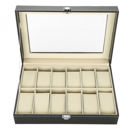 $enCountryForm.capitalKeyWord Australia - 12 Grids PU Leather Watch Display Case Storage Box Organizer Watch Jewelry Display Box With Dust-proof Clear Glass Cover