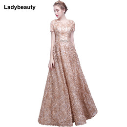 Short Red Lace Prom Vintage Dress Australia - Ladybeauty 2018 Elegant Lace Evening Dress Simple Sleeveless Small Flowers Prom Dress Long Party Gown Y19051401