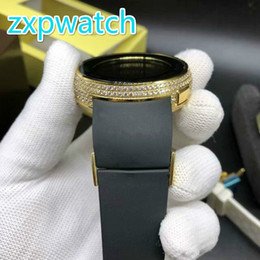 Big Display Cases Australia - Diamonds gold case men watch big size 45mm digital display Limit edition full works black rubber strap high quality watches