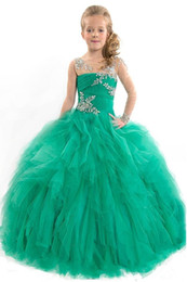 crystal rose images UK - 5-14 Years Ball Gown Charming Green Rose Red Flowers Girls Pageant Dresses Crystal Tulle Floor Length Formal Party Gowns