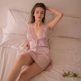 319c16bd507 Summer Sexy V Neck Ladies Satin Sleep Dress Sleepwear For Women Sleeveless  Spaghetti Strap Nightdress Lace Trim Satin Cami Y19051701