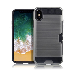 $enCountryForm.capitalKeyWord NZ - Metal color case for iphone X XR XS 6 6s 7 8 plus with credit card slot 2 in 1 tpu & plastic Double layer Shockproof protector