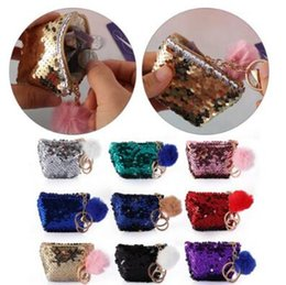 $enCountryForm.capitalKeyWord Australia - 10 Colors Mermaid Sequin Keychains Pouch Wallet Glittering Coin Purse Zipper Earphone Storage Bags With Cute Plush Ball CCA10712 200pcs