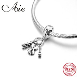 38a3abc07 Italy Pasta And Fork With Love Heart 925 Sterling Silver fine Pendants  beads Fit Original Pandora Charm Bracelet Jewelry making