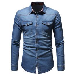 Man shirts double pockets online shopping - Denim Shirts For Men Long Sleeve Man Tops Spring Wear Turn down Collar Young Boy Streetwear Shirt Double Pockets Club Slim Blusa