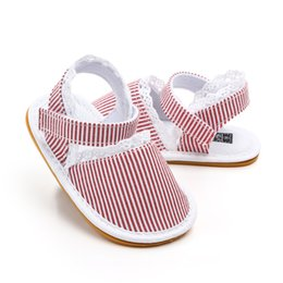 $enCountryForm.capitalKeyWord Australia - Newest Newborn Infants Baby Girl Stripe Shoes Soft Rubber Sole Crib Shoes Canvas Lace Sandals Clogs Anti-slip Sneaker Prewalker 0-18M