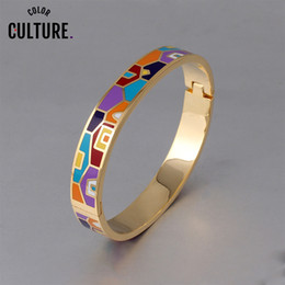 jewelry enamel painting Australia - New Fashion Stainless Steel Open Bangle For Women Gold Geometric colorful enamel painted Bangles Wedding Jewelry V191220