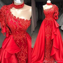 Pink long crystal Prom dress online shopping - 2019 Arabic Red High Neck Lace Mermaid Evening Dresses One Shoulder Ruffles Beaded Floor Length Formal Party Cocktail Prom Dresses BC069