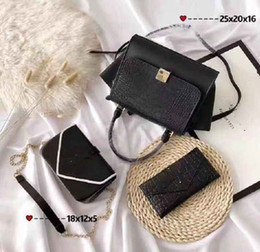 Shop Leather Bag Australia - Designer Handbags Brand Bag Paris Real Leather Luxury Handbags Shopping Bag Shoulder Bag Fashion Clutch Bags Wallet Purse 1 Piece=3 bags Q27