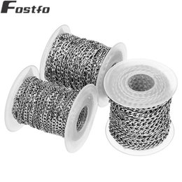 Silver Rolled Chain NZ - 10Yards Roll 3 4 5mm Crude Stainless Steel Chain Bulk Silver Jewelry Figaro Chains For Women Men Diy Necklace Bracelets Making