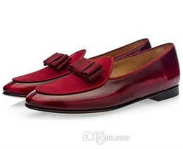 $enCountryForm.capitalKeyWord Australia - Italian Designer Mens Velvet Loafers With Bow Tassel Slip On Flat Shoes Moccasins Male Dress Casual Prom Shoes Large Size 39-46 ert