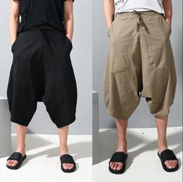 men flat crotch 2019 - Wholesale-Gothic Drop Crotch Mens Cargo Wide Leg Pants Punk Men Casual Fashion Trousers Loose Men's Joggers Culotte