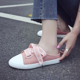 $enCountryForm.capitalKeyWord Australia - Round headSummer new cool breathable canvas shoes female Korean students wild half drag white shoes a pedal lazy shoes