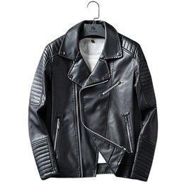 Wholesale leather jacket asian for sale – winter Asian size M XXXL Leather Jacket Men Autumn Winter Brand Oblique Zipper Motorcycle Streetwear Pu Leather Coat Jaqueta Couro K210