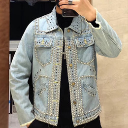 Korean green jacKet online shopping - Spring Korean men Denim hot drilling jacket trend short slim Rvets Plus Size Parka Hommes punk lovers Jeans Jackets And Coats