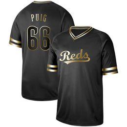 cf6a85737 Mens Cincinnati Black Gold 66 Yasiel Puig 19 Joey Votto 7 Eugenio Suarez 27  Matt Kemp 12 Curt Casali Michael Lorenzen Reds Baseball Jerseys