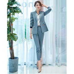 $enCountryForm.capitalKeyWord Australia - Women's pants suits spring and autumn new overalls office suit women's new fashion slim double-breasted suit temperament suit