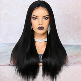 wig lace front hair white 2019 - Yaki Straight Hair Wigs with Baby Hair Glueless Synthetic Lace Front Wigs Natural Hairline Black Color High Temperature