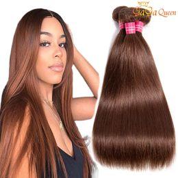 Wet broWn online shopping - Brazillian Straight Virgin Hair color Light Brown Brazilian Straight Human Hair Bundles Wet and Wavy Brazilian Hair
