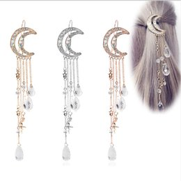 $enCountryForm.capitalKeyWord Australia - Elegant Women Lady Moon Rhinestone Crystal Tassel Long Chain Beads Dangle Hairpin Hair Clip Hair Jewelry Ornaments clips