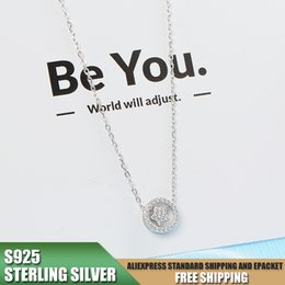 korean zircon accessories NZ - Circle Necklace for Women with 925 Sterling Silver Pendant Necklace with Zircon Korean Jewelry Accessories Wholesale A310