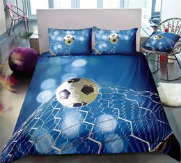 White Duvet Roses Australia - Thumbedding Dropship Hot Sale Blue Football Bedding Sets Simple Style Twin Full Queen King 3D Duvet Cover Set with Pillowcase