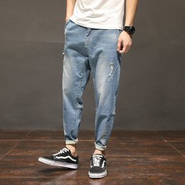 big size jeans Canada - Fashion Solid Men Jeans Casual Loose Ankle Length Denim Pants Scratched Jeans Homme Big Size
