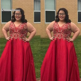Olive dresses online shopping - 2019 Red Aline V neck With Appliques Satin Plus Size Prom Dress High end Customed Made Vestidos De Novia Party Gown