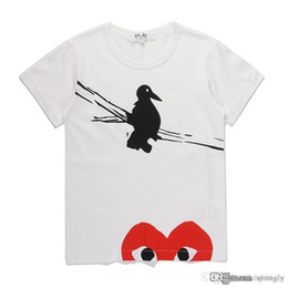 Red White Heart Cotton Australia - 2018 COM New Quality White New play 1 Unisex CDG Play Casual Cotton Heart Homme Bird Red Heart basic tee short Sleeve T-shirts