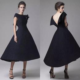 tea length bateau wedding dresses 2019 - Elegant Tea Length Mother Of The Bride Dresses Krikor Jabotian 2019 Vintage Black Lace Prom Dress High Low Short Wedding