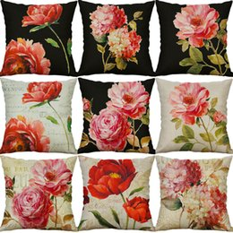 "$enCountryForm.capitalKeyWord UK - HGLEGYW 18"" Peony Flower Print Cotton Linen Pillow Cases Cushion Cover Home Decor"
