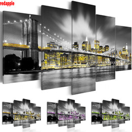 $enCountryForm.capitalKeyWord Australia - 5D DIY Diamond Painting Diamond Embroidery New York Brooklyn Bridge Decorative Picture of Rhinestones city night view 5pcs icon