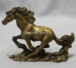 chinese zodiac year statue UK - Chinese Brass Figurine Zodiac Year Animals FengShui Wealth Jump Horse Statue