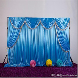$enCountryForm.capitalKeyWord NZ - Ice silk fabric wedding backdrop with swags and tassel drape curtain for wedding stage event party birthday decoration