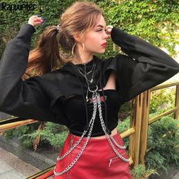$enCountryForm.capitalKeyWord Australia - Rapwriter Punk Metal Chain Patchwork Solid Long Sleeve Hoodies Sweatshirts Women 2019 Autumn Black Hip Hop Harajuku Crop Top MX190815