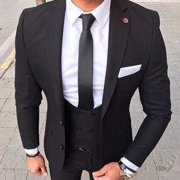 $enCountryForm.capitalKeyWord Australia - Black Men Suits for Wedding Groom Tuxedos Slim Fit Three Piece Jacket Blazer Pants Vest Latest Body Suit Man Clothing