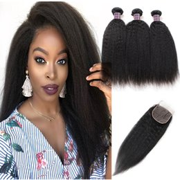 "yaki human hair lace closure 2019 - Indian Hair Water Wave Body Wave 3 4Bundles With Lace Closure Deep Loose 8-28"" Yaki Straight Human Hair Bundles wit"