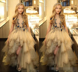 See through pageant dreSSeS online shopping - Princess Tulle Tiered Girls Pageant Gowns Champagne High Low Flower Girl Dresses For Wedding Top See Through Christmas Formal Wear