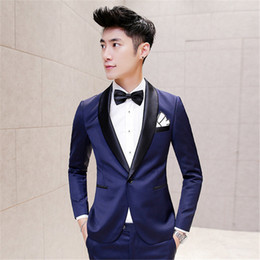 Discount shawl for navy dress - Dark Blue Tuxedo Mens Smoking Suit Jackets Groom Wedding Suits for Men Blazers Slim Fit Dinner Jackets Dress Terno Mascu