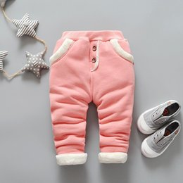 red leggings 3t NZ - BibiCola New Autumn Winter baby girls Solid color pants children Plus velvet thick leggings kids tracksuit trousers