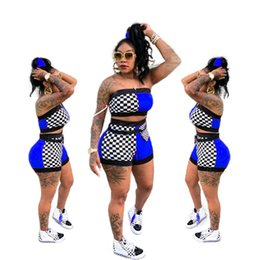 jumpsuit women slim strapless UK - Women Sexy Plaid Print Summer Check Printed strapless Tube Crop Top Belt Shorts Set 2 Piece Outfits Romper Jumpsuits