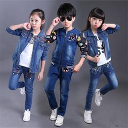 f34d5301ffdc 2016 New Spring Autumn Girls Boys Cowboy Clothing Set Children Branded  Clothes Denim Jacket+Jeans Kids Fashion Infant Outfits