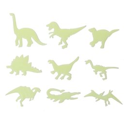 Discount glowing dinosaur toy fashion stickers 1set 9pcs glow in the dark dinosaurs toys stickers ceiling decal baby kid room baby play