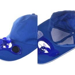 solar cooling fan Canada - Summer Outdoor Solar Sun Power Hat Cap Cooling Cool Fan for Golf Baseball Sport