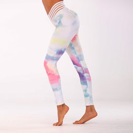 d9c3e795aa 2019 Rainbow Women Yoga Pants Sports Leggings Workout Running Training leggings  Push Up Tight Slim Comfortable Gym Wear