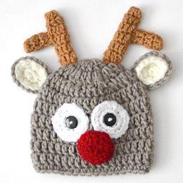 Reindeer Hats Australia - Handmade Crochet Baby Girl Boy Rudolf Reindeer Beanie,Santa Moose Hat,Animal Cap with Ears,Infant Christmas Hat,Newborn Toddler Photo Prop